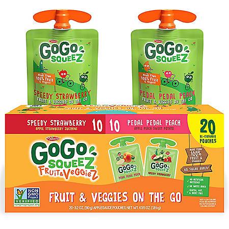 GoGo SqueeZ Fruit & VeggieZ Applesauce, Peach/Strawberry (3.2 oz., 20 ct.)