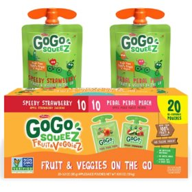 GoGo SqueeZ Fruit & VeggieZ Applesauce, Peach/Strawberry (3.2 oz., 20 ct.)