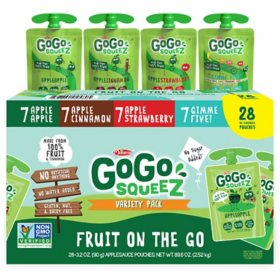 GoGo squeeZ Applesauce, Apple/Cinnamon/Strawberry/GIMME Five (3.2 oz., 28 pk.)