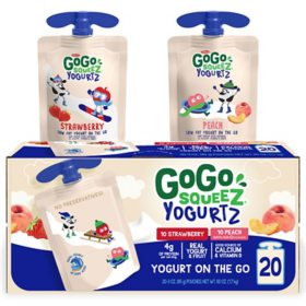 GoGo SqueeZ YogurtZ, Strawberry and Peach (20 ct.)