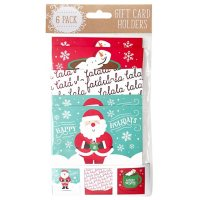 Gift Card Impressions: Fun Holiday Gift Card Holders, 6-Pack  (3 Designs)