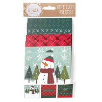 Gift Card Impressions: Holiday Gift Card Holders, 6-Pack  (3 Designs)