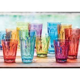 Tritan Highball and DOF Tumbler Set, 12 Pack (Assorted Colors)