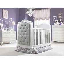 Dolce Babi Angelina 3-in-1 Upholstered Convertible Crib, Pearl