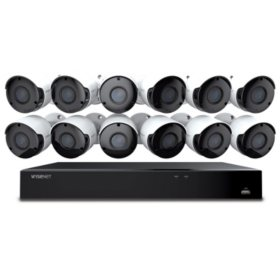 Wisenet 16-Channel 5MP DVR Surveillance System with 2TB Hard Drive, 12x Camera 5MP Indoor/Outdoor Cameras