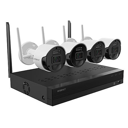 Wisenet-4 Channel 1080p Full HD NVR Surveillance System with 1TB Hard Drive, 4- Wireless 1080p Indoor/Outdoor Cameras