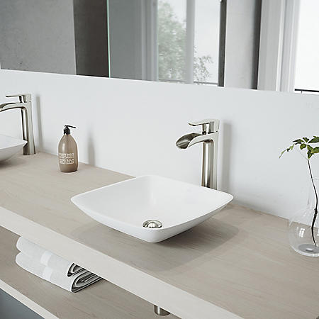 VIGO Niko Vessel Bathroom Faucet (Brushed Nickel)
