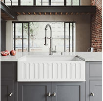 "VIGO 33"" Matte Stone Farmhouse Kitchen Sink"