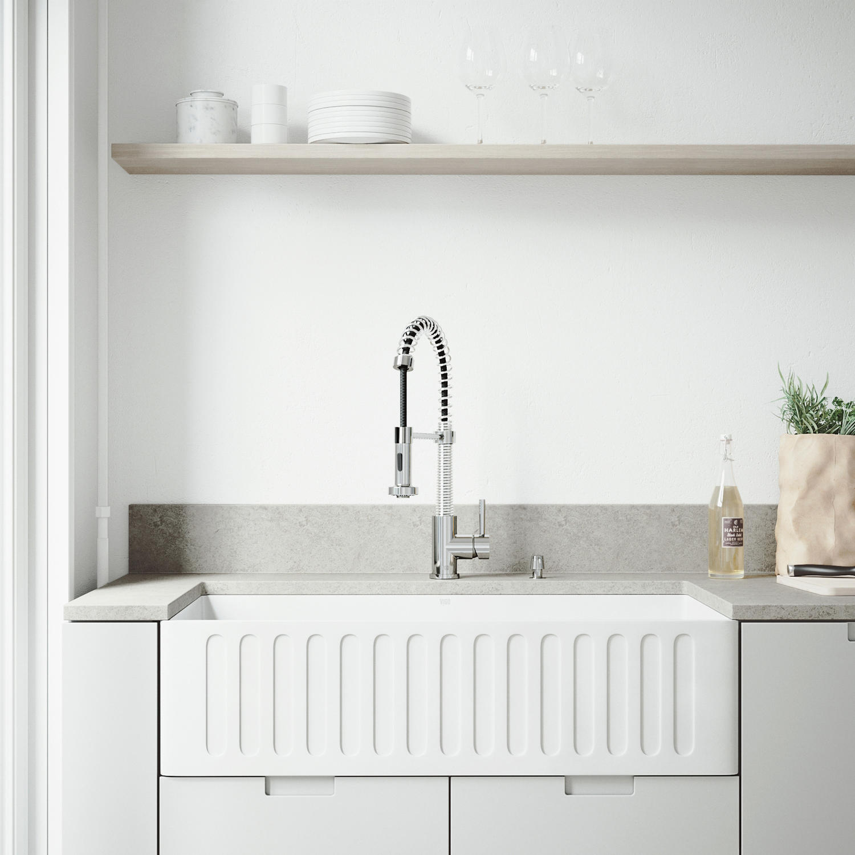 VIGO 36″ Matte Stone Farmhouse Kitchen Sink