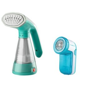 True & Tidy Handheld Steamer plus Bonus Fabric Shaver (Assorted Colors)