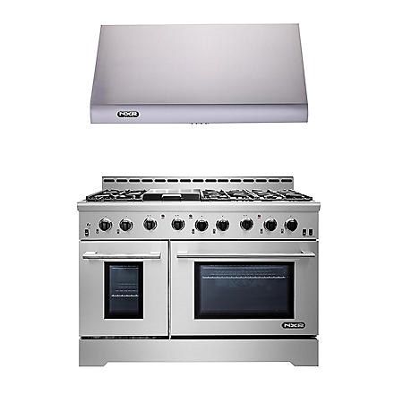 "NXR Stainless Steel 48"" Gas Range with Range Hood"
