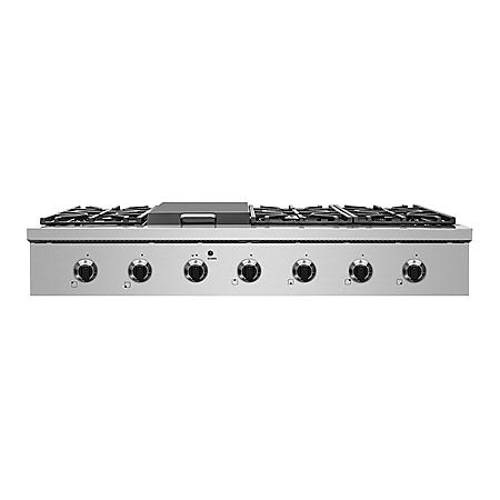 """NXR Stainless Steel 48"""" Gas Cook Top with 6 Burners and Griddle Burner"""