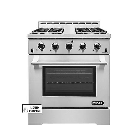 """NXR Stainless Steel 30"""" Professional Style Liquid Propane Range with Convection Oven"""