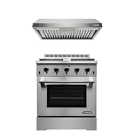 "NXR Stainless Steel 30"" Gas Range with Under Cabinet Range Hood"