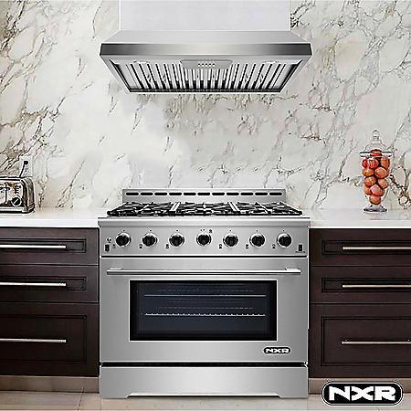 "NXR Stainless Steel 36"" Gas Range with Under Cabinet Range Hood"