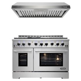 "NXR Stainless Steel 48"" Gas Range with Under Cabinet Range Hood"