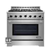"""NXR Stainless Steel 36"""" Professional Style Dual Fuel Range with Convection Oven"""