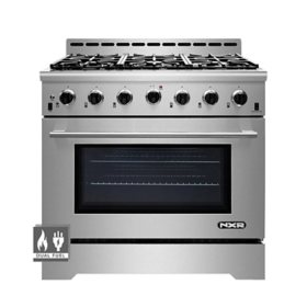 "NXR Stainless Steel 36"" Professional Style Dual Fuel Range with Convection Oven"