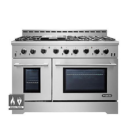 """NXR Stainless Steel 48"""" Professional Style Dual Fuel Range with Convection Oven"""