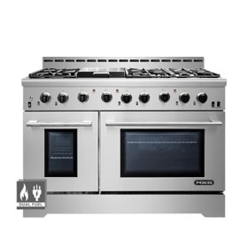 "NXR Stainless Steel 48"" Professional Style Dual Fuel Range with Convection Oven"