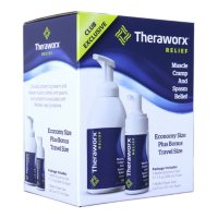 Theraworx Relief Fast-Acting Foam for Leg Cramps, Foot Cramps and Muscle Soreness (17.1 oz. Pump, & 3.4 oz. Travel)