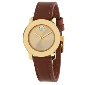 Movado Bold Gold Dial Brown Leather Women's Watch 3600437