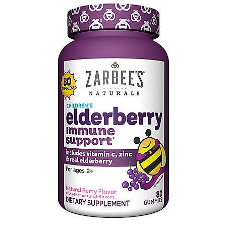Zarbee's Naturals Children's Elderberry Immune Support* with Vitamin C & Zinc, Natural Berry Flavor (80 ct.)