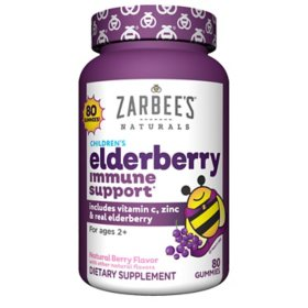 Zarbee's Naturals Children's Elderberry Immune Support* with Vitamin C & Zinc, Natural Berry Flavor (80 ct.)