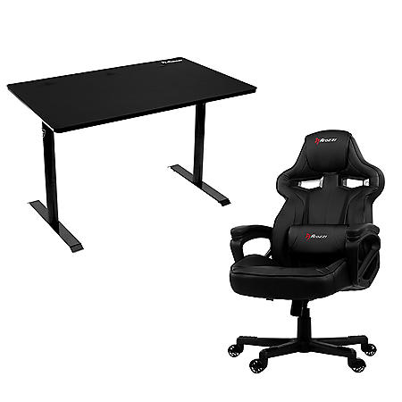 Arena Leggero Gaming Desk and Milano Gaming Chair Bundle - Black