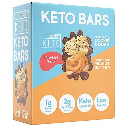 Kiss My Keto Bars, Low Carb and Sugar Keto Snack Bars, Variety Pack (12 ct.)