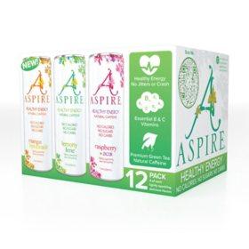 Aspire Healthy Energy Drink Variety Pack (12 oz., 12 pk.)