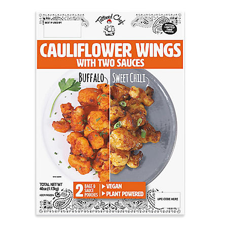 Tattooed Chef Cauliflower Wings with Two Sauces, Frozen (40 oz.)