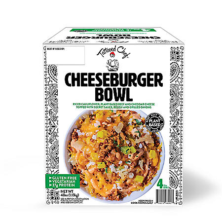 Tattooed Chef Plant Based Cheeseburger Bowl, Frozen (4 ct.)