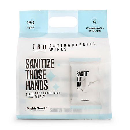 Mighty Good Sanitize Those Hands Antibacterial Wipes (40 ct., ea. 4 pk.)