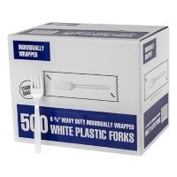 Individually Wrapped Plastic Forks, White (500 ct.)