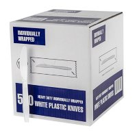 Individually Wrapped Plastic Knives, White (500 ct.)