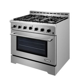 "NXR Stainless Steel 36"" Professional Style Liquid Propane Range with Convection Oven with LED Light"