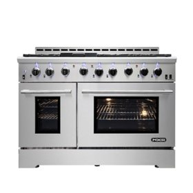"NXR Stainless Steel 48"" Professional Style Liquid Propane Range with Convection Oven with LED Lights"