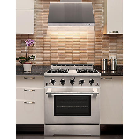 """NXR Stainless Steel 30"""" 4.5 cu. ft. Professional Style Liquid  Propane Range with LED lights and Under Cabinet Range Hood"""
