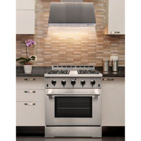 "NXR Stainless Steel 30"" 4.5 cu. ft. Professional Style Liquid  Propane Range with LED lights and Under Cabinet Range Hood"