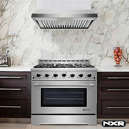 """NXR Stainless Steel 36"""" 5.5 cu. ft. Professional Style Dual Fuel Range with Under Cabinet Range Hood"""