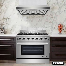 "NXR Stainless Steel 36"" 5.5 cu. ft. Professional Style Dual Fuel Range with Under Cabinet Range Hood"