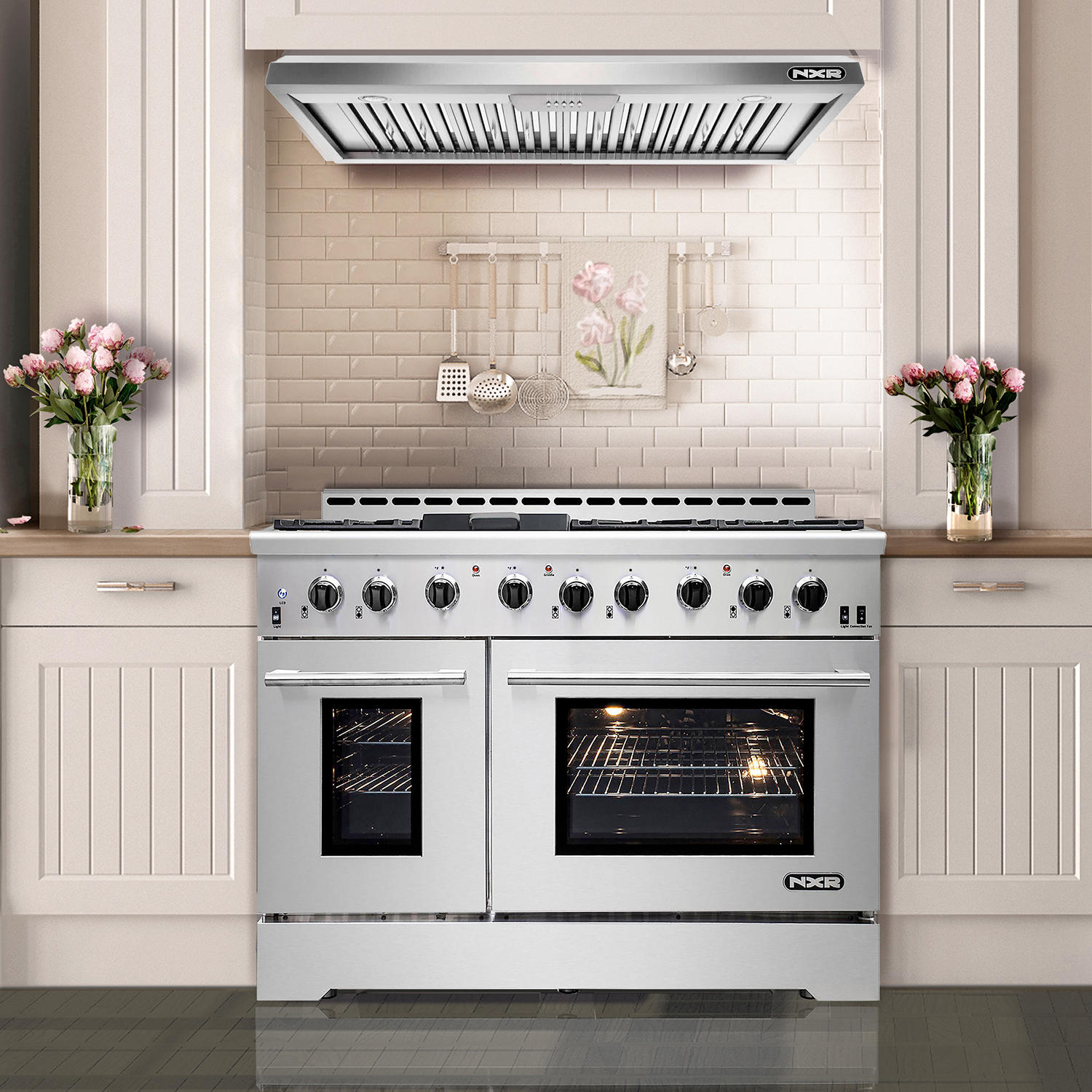 NXR Stainless Steel 48″ 7.2 cu. ft. Professional Style Dual Fuel Range with Under Cabinet Range Hood