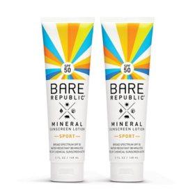 Bare Republic SPF50 Mineral Body Sunscreen Lotion (2 pk.)