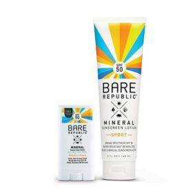 Bare Republic SPF50 Mineral Sunscreen Lotion and Sport Stick