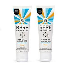 Bare Republic SPF30 Mineral Matte Face Sunscreen Lotion (2 pk.)