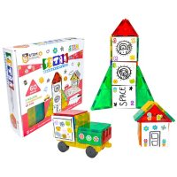 Tytan Magnetic Learning Tiles & Building Block Kit - STEM Certified Toys, Magnets & Dry Erase Decals for Kids - 60 pcs