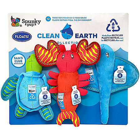 Clean Earth by Spunky Pup Recycled Plush Dog Toys (3 pk.)