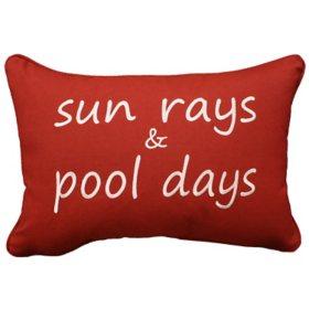 """Peak Season Embroidered Decorative Accent Pillow, Sunbrella Fabric, 14"""" x 20"""""""