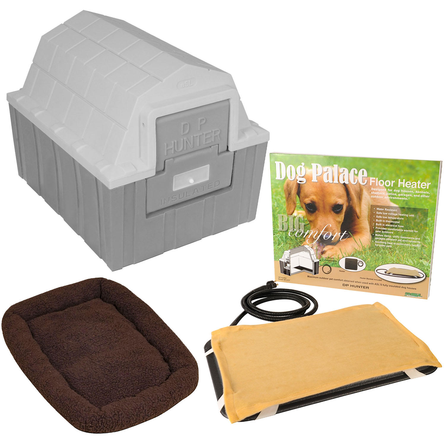 ASL Solutions Insulated DP Hunter Dog House with Heating Pad and Bed
